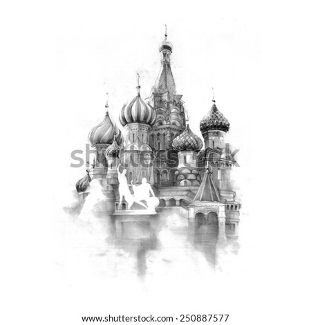 Hand graphics - St Basil's Cathedral, Red Square, Moscow, Russia - stock photo