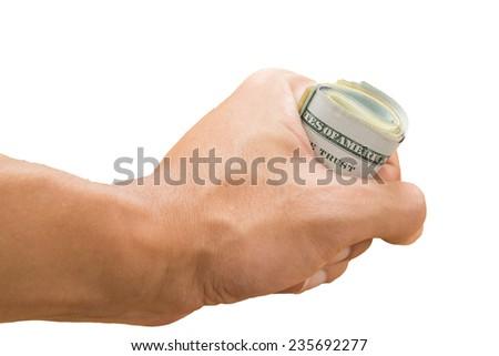 hand grasp roll of dollar bills, isolated - stock photo