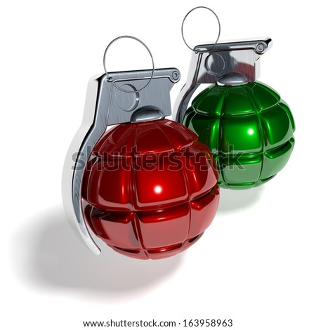 Hand grenade shaped christmas tree balls, xmas tree baubles, red, green, 3d rendering isolated on white background - stock photo