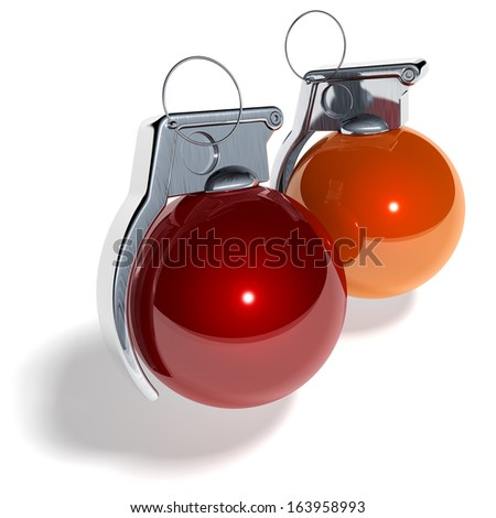 Hand grenade shaped christmas tree balls, xmas tree baubles, red, orange, 3d rendering isolated on white background - stock photo