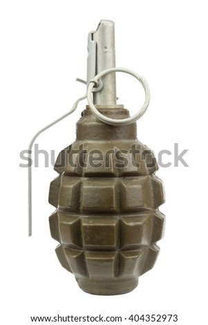 Hand grenade. Weapon of terrorists. Sales of weapons. Place for your text. - stock photo