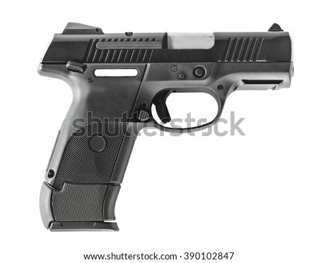 Hand Gun, 9mm Pistol - stock photo