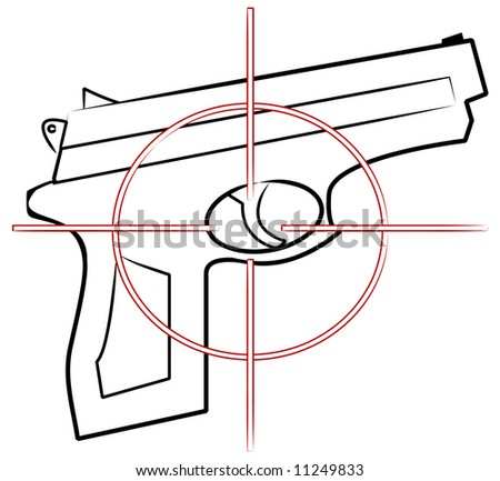 hand gun outline with cross hair target on top - stock photo