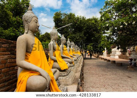 Hand hell statue in thailand temple - stock photo