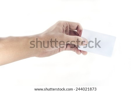 hand hold a plastic card - stock photo