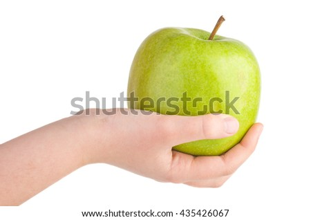 Hand hold big green apple isolated on white background - stock photo