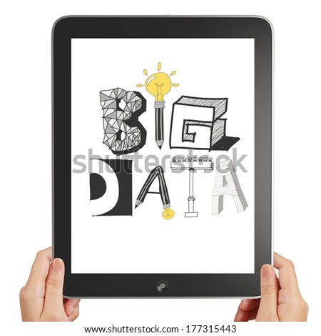 Hand hold black tablet pc computer with hand drawn text BIG DATA on display - stock photo