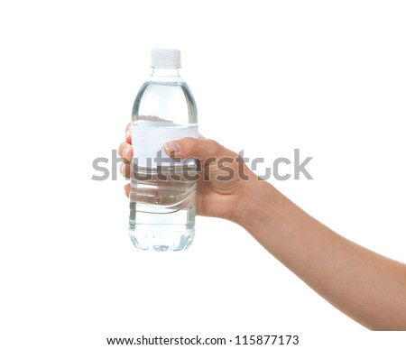 Hand hold bottle of drinking water on a white background - stock photo