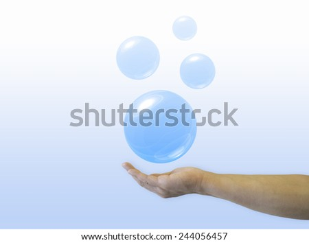 Hand hold bubble - stock photo