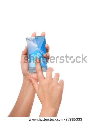 Hand hold cloud computing touch screen mobile phone - stock photo