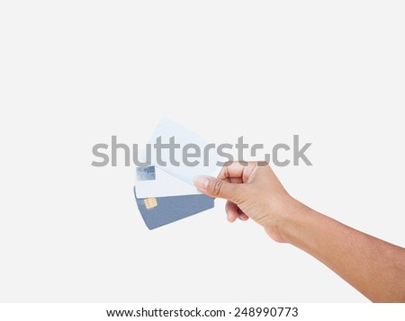 hand hold credit card  - stock photo