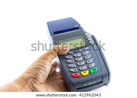 Hand hold credit card reader machine isolated on white background - stock photo