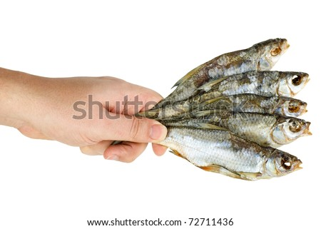 Hand hold few salted dried fishes  isolated on the white background - stock photo