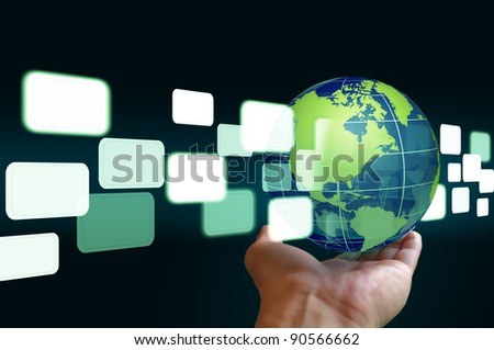 hand hold flying transparent button through earth globe - stock photo