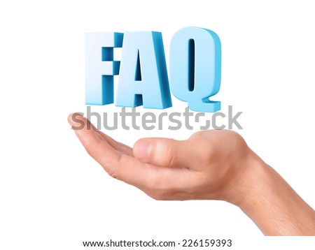 hand hold Frequently Asked Questions. FAQ concept. 3d illustration on white background - stock photo