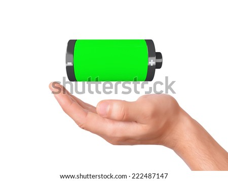 hand hold full battery 3d icon on white background - stock photo