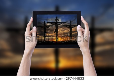 Hand Hold Mobile Jesus Cross Background - stock photo