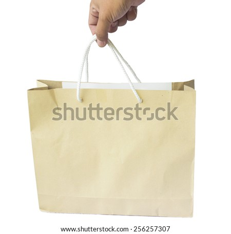 hand hold paper bag isolated on white background - stock photo