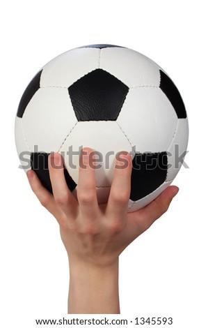 hand hold soccer ball - stock photo