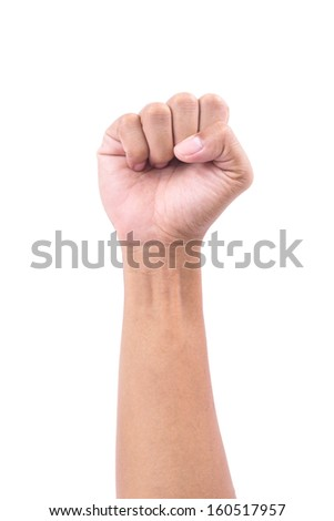 hand hold something on white background  isolated - stock photo