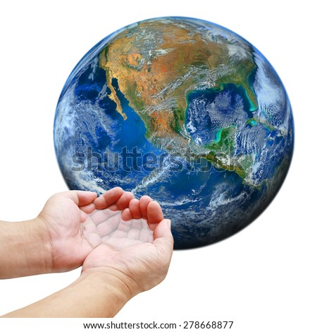 hand hold water with the earth ,including elements furnished by NASA - stock photo