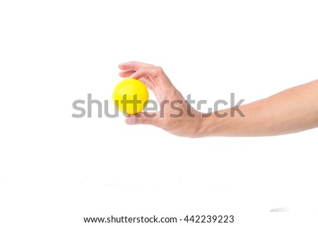 Hand hold yellow  ball, Happy and relax idea concept - stock photo