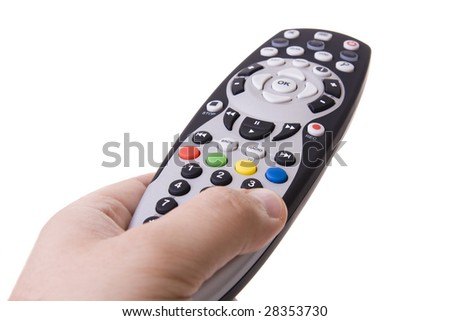 Hand holding a atv control (Focus on the R G Y B buttons) - stock photo