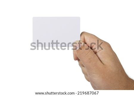 hand holding a bankcard on a white background - stock photo