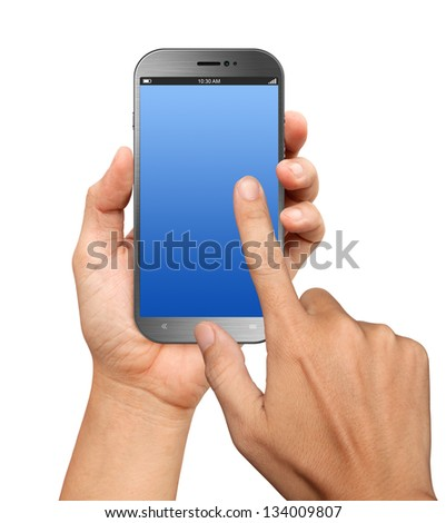 Hand holding A Big Screen Smartphone with blank screen on white background - stock photo