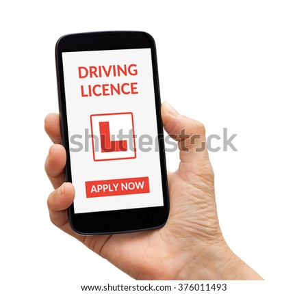 Hand holding a black smart phone with driving licence app mock up on screen. Isolated on white background. All screen content is designed by me. - stock photo