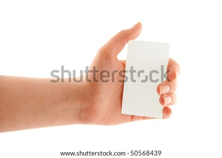 Hand holding a blank business card. - stock photo