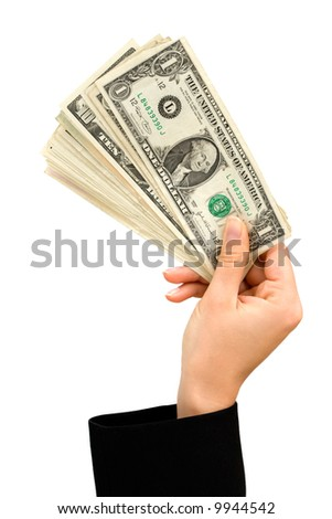 Hand holding a bunch of US dollar notes - stock photo