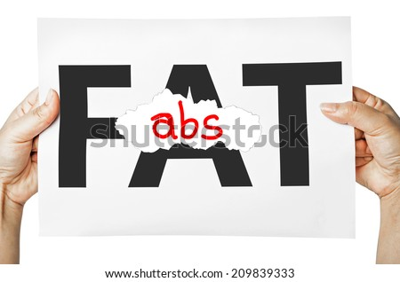 Hand holding a burning paper has FAT text in a middle and see abs text behind. Fat burn, Work out concept. - stock photo