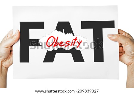 Hand holding a burning paper has FAT text in a middle and see Obesity text behind. Fat burn, Work out concept. - stock photo