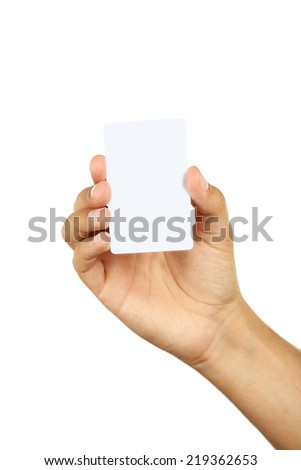 Hand holding a business card - stock photo