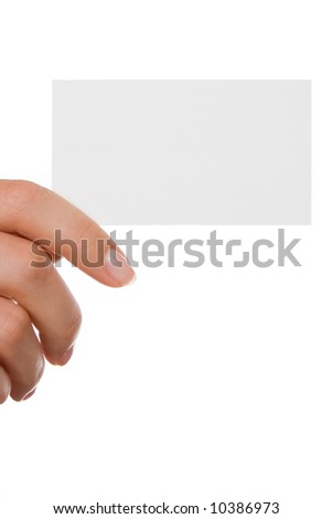 Hand holding a business card over white - stock photo