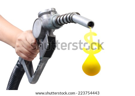 hand holding a classic fuel nozzle giving a oil drop as dollar sign isolated on white background with clipping path  - stock photo