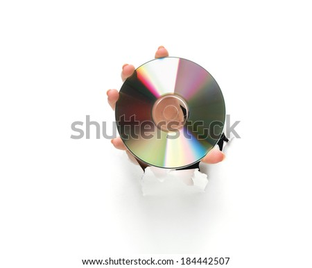 hand holding a compact disc on white background - stock photo