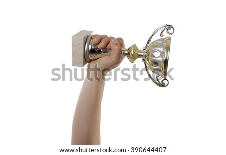 Hand holding a cup on the top, isolated on white background - stock photo