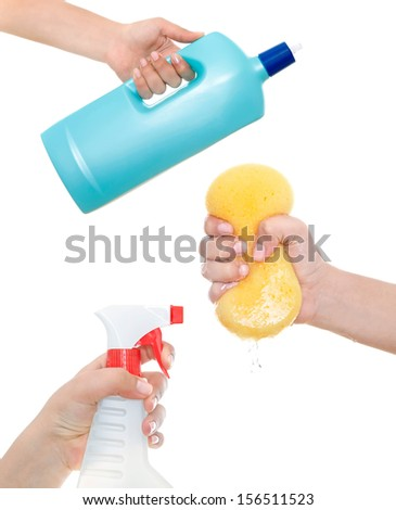 Hand holding a detergent, liquid and sponge. Isolated - stock photo