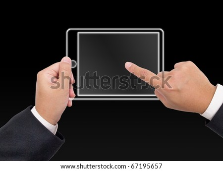 Hand holding a digital tablet pc - stock photo