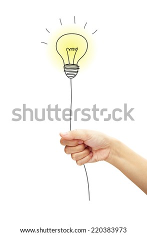 Hand holding a flying light bulb. concept about idea. - stock photo