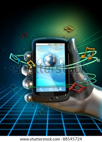 Hand holding a generic smartphone. Different icons float around the phone, indicating services available through the device. Digital illustration. - stock photo