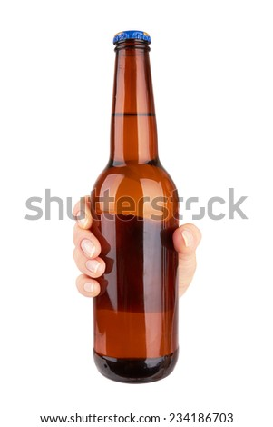 hand holding a grown beer bottle without label isolated on white background  - stock photo