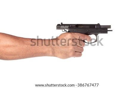 Hand holding a gun on a white background - stock photo