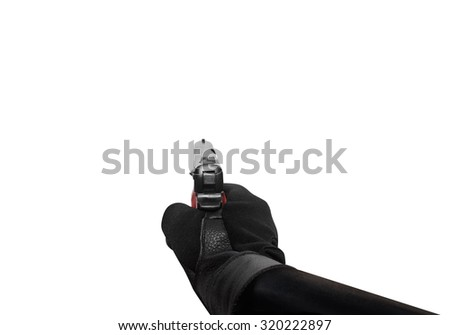 Hand holding a handgun point view. Isolated first person view hand holding a handgun pointing on white background. - stock photo