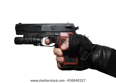 Hand holding a handgun profile. Isolated first person view hand holding a handgun on white background profile view. - stock photo