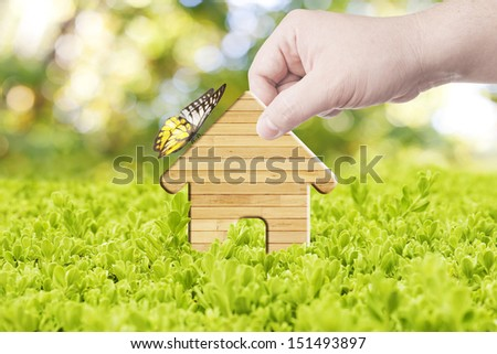 Hand holding a house made from wood with butterfly on top. Concept for building an ecology home - stock photo