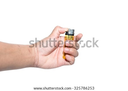 Hand holding a lighter - stock photo