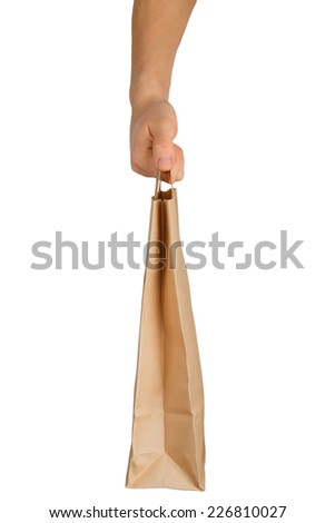 Hand holding a paper bag isolated on white background - stock photo